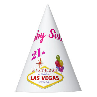 Baby Sister 21st Las Vegas Birthday Party Hat