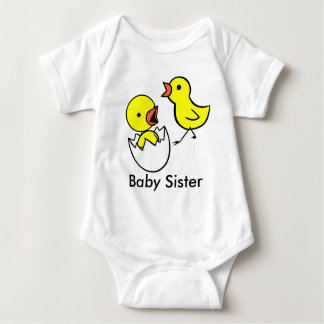 """Baby Sister"" Cute Little Chickens Infant Shirt"