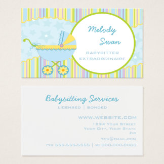 Baby Sitter Business Card Blue Carriage