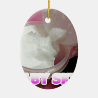 Baby Skin Lotion Ceramic Oval Ornament