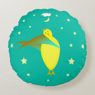 Baby Sleepy Time Round Pillow With Yellow Bird