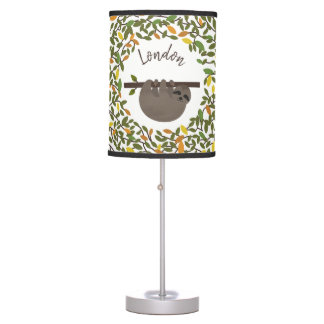 Baby Sloth Autumn Greenery Personalized Lamp