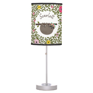 Baby Sloth Floral Greenery Personalized Lamp