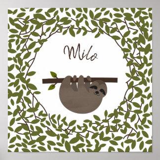 Baby Sloth  Greenery Baby Nursery Poster