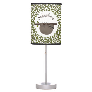 Baby Sloth Greenery Personalized Lamp