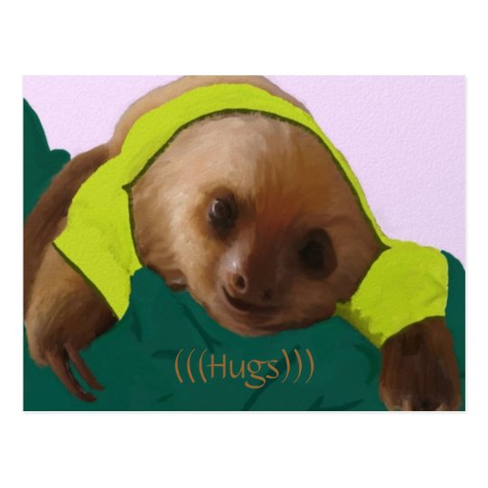 Baby Sloth in Pyjamas Postcard