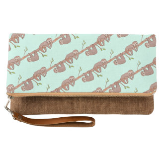 Baby Sloths hanging on Tree Pattern Clutch