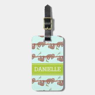 Baby Sloths hanging on Tree Pattern Luggage Tag
