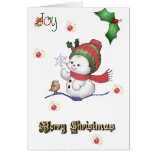 baby snowman talking to a baby bird christmas card