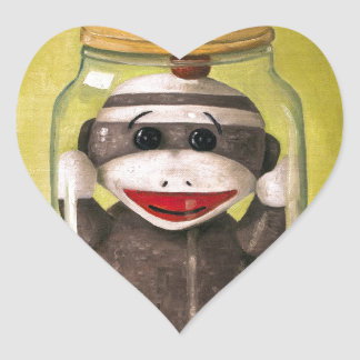 Baby Sock Monkey  Preserving Childhood 5 Heart Sticker