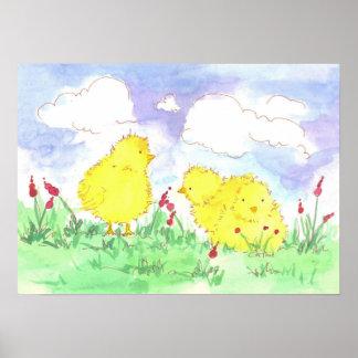 Baby Spring Chicks Children's Room Art Poster