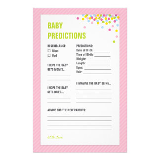 Baby Sprinkle Baby Predictions Card - Pink Stationery Paper