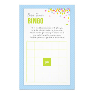 Baby Sprinkle Baby Shower Bingo Game Card - Blue Personalized Stationery