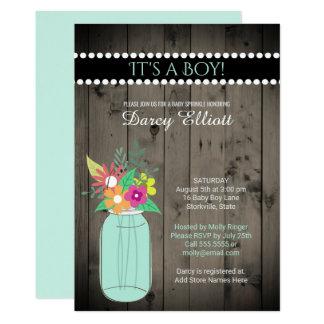 Baby Sprinkle Country Rustic Wood Mint Mason Jar Card