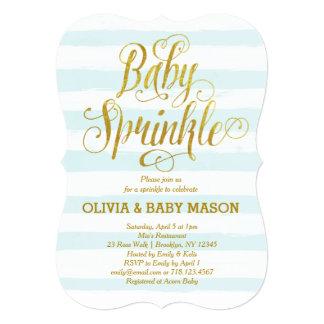 Baby Sprinkle Invitation Boy Blue Stripes Gold