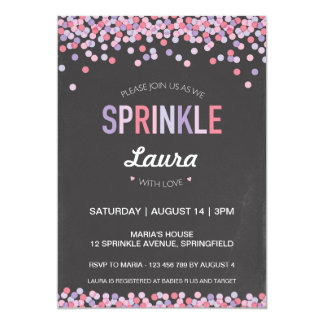 Baby Sprinkle Invitation, Pink and Purple Chalk Card