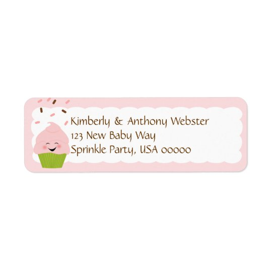 Baby Sprinkle Matching Pink Return Address Lable
