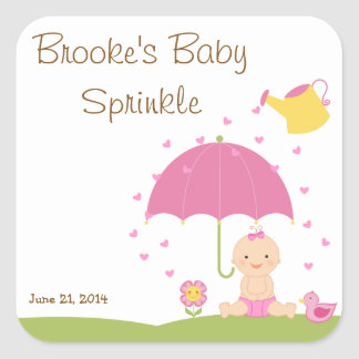 Baby Sprinkle Shower Favor Tag Square Sticker