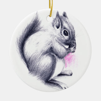 baby squirrel ceramic ornament