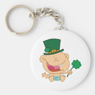 Baby St Patrick's Day Boy In A Diaper And Hat Basic Round Button Keychain