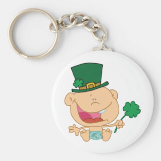 Baby St Patrick's Day Boy In A Diaper And Hat Keychain