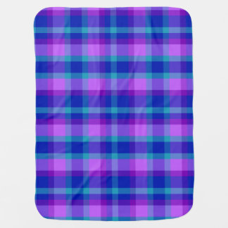 Baby Stats Turquoise Blue Purple Lavender Plaid Baby Blanket
