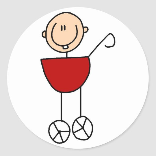 Baby Stick Figure In Carriage Sticker