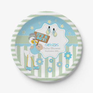 Baby Stork Baby Boy Shower 7 Inch Paper Plate