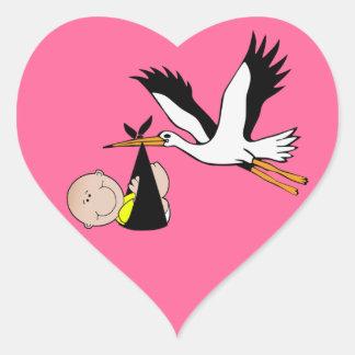 Baby Stork - Bundle of Joy Heart Stickers