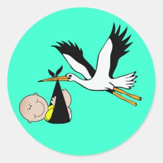 Baby Stork - Bundle of Joy Round Sticker