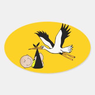 Baby Stork - Bundle of Joy Oval Stickers
