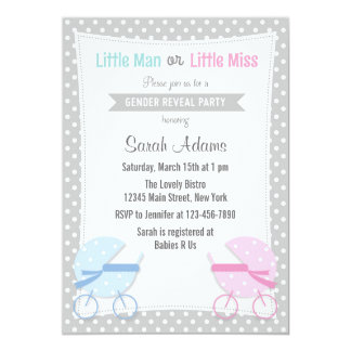 Baby Stroller Gender Reveal Party Invitation