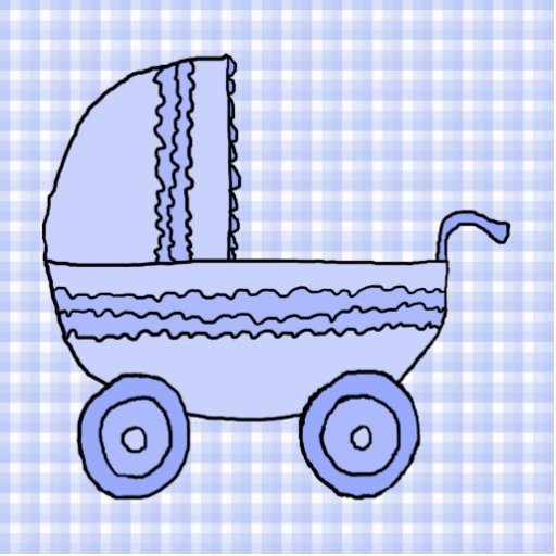 Baby Stroller. Light Blue on Check Pattern. Cut Out