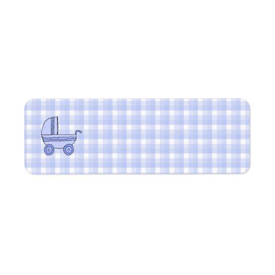 Baby Stroller. Light Blue on Check Pattern. Return Address Label