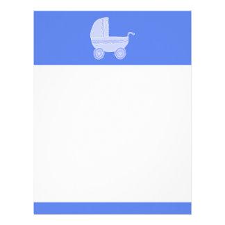 Baby Stroller. Light Blue on Mid Blue. Letterhead
