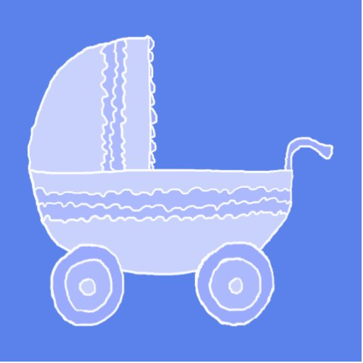 Baby Stroller. Light Blue on Mid Blue. Acrylic Cut Out