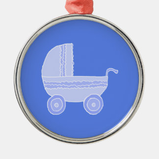 Baby Stroller. Light Blue on Mid Blue. Silver-Colored Round Ornament