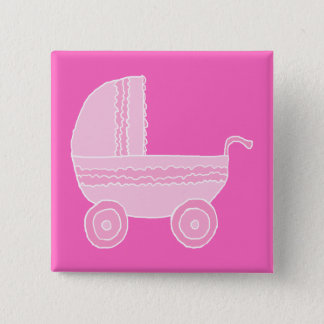 Baby Stroller. Light Pink and Bright Pink. 2 Inch Square Button