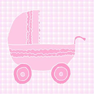 Baby Stroller. Light Pink on Pink Gingham. Photo Sculptures