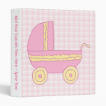 Baby Stroller. Pink and Yellow on Pink Check. 3 Ring Binder