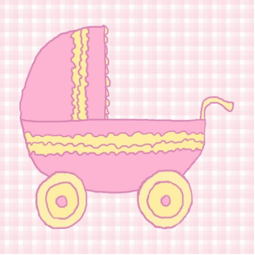 Baby Stroller. Pink and Yellow on Pink Check. Photo Cut Out