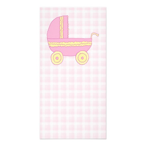 Baby Stroller. Pink and Yellow on Pink Check. Picture Card
