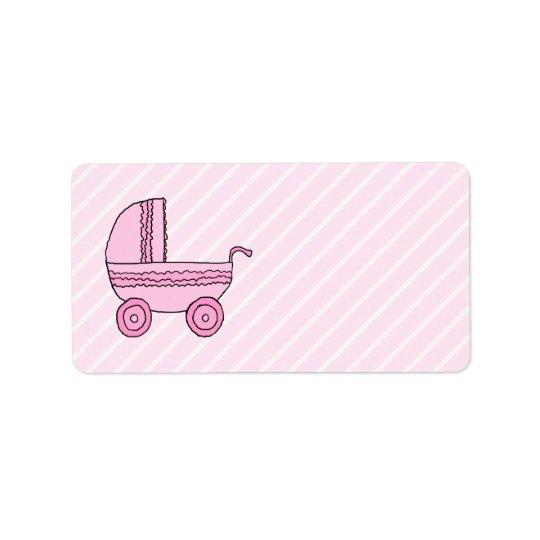 Baby Stroller. Pink on Light Pink Stripes. Label
