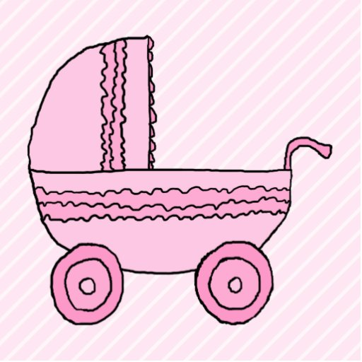 Baby Stroller. Pink on Light Pink Stripes. Photo Cutout