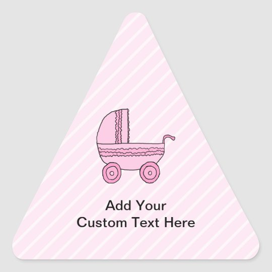 Baby Stroller. Pink on Light Pink Stripes. Triangle Sticker