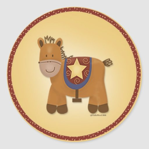 Baby Stuffed Animal Horse Round Sticker