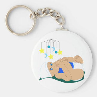 Baby Sucking Toe Basic Round Button Keychain