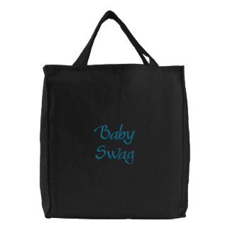 'Baby Swag' Blue Embroidered Tote Bag