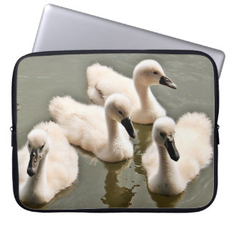 Baby Swans Swimming Laptop Computer Sleeves