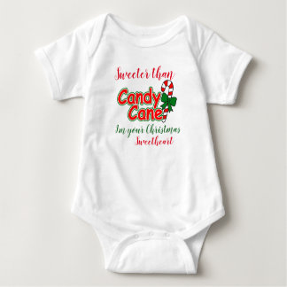 Baby Sweeter Than Candy Cane Christmas Sweetheart Baby Bodysuit
